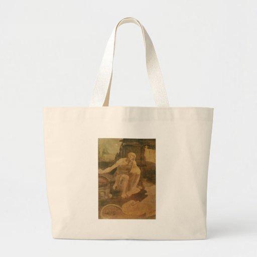 St Jerome en el desierto de Leonardo da Vinci Bolsas De Mano