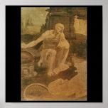 St Jerome en el desierto de Leonardo da Vinci Impresiones