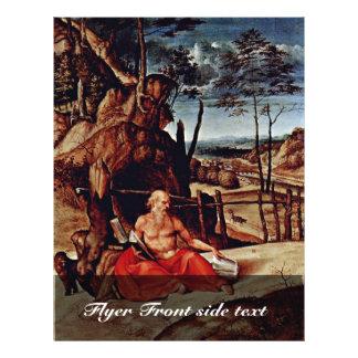 """St Jerome en el desierto por la loteria Lorenzo (e Folleto 8.5"""" X 11"""""""
