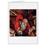 St Jerome en la célula de Marinus Reymerswaele Tarjeta De Felicitación