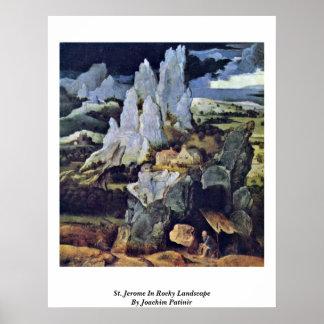St Jerome en paisaje rocoso de Joaquín Patinir Posters