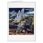 St Jerome en paisaje rocoso de Joaquín Patinir Tarjeton