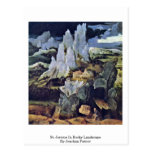 St Jerome en paisaje rocoso de Joaquín Patinir Tarjetas Postales