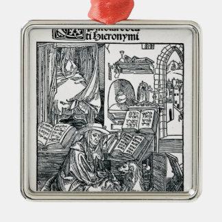 St Jerome en su estudio Adorno Navideño Cuadrado De Metal