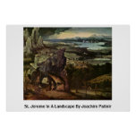 St Jerome en un paisaje de Joaquín Patinir Impresiones