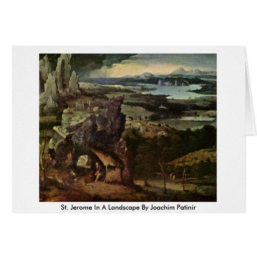 St Jerome en un paisaje de Joaquín Patinir Felicitacion