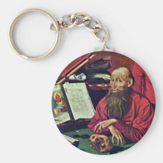 St. Jerome In A Cell By Reymerswaele Marinus Claes Keychain