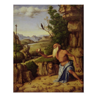 St.Jerome in a Landscape, c.1500-10 Poster