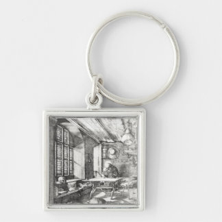St. Jerome in his Study, 1514 Silver-Colored Square Keychain