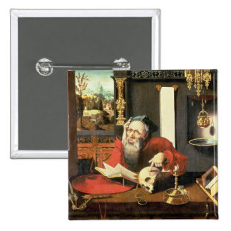 St. Jerome in his Study Pinback Button