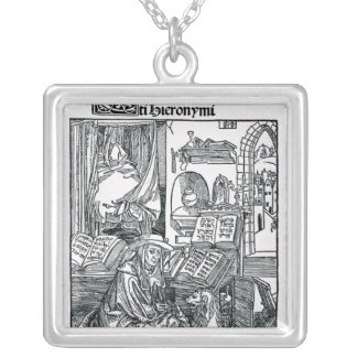 St. Jerome in his study Square Pendant Necklace