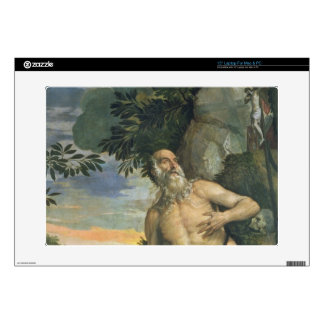St. Jerome in Penitence (oil on canvas) Decals For Laptops