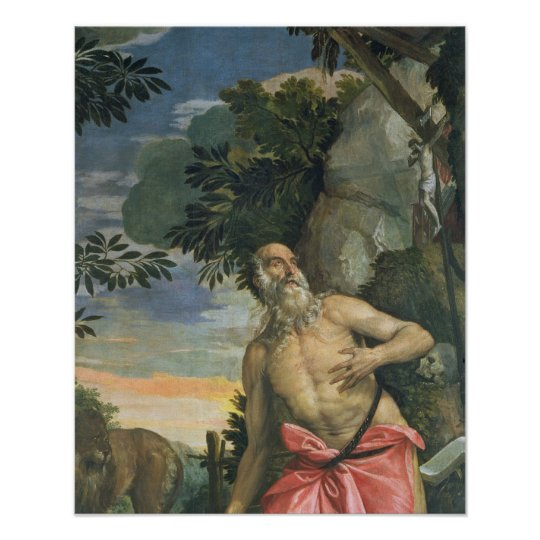St. Jerome in Penitence (oil on canvas) Poster