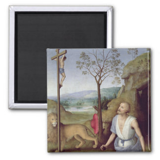 St. Jerome in the Desert, c.1499-1502 2 Inch Square Magnet