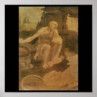 St. Jerome in the Wilderness by Leonardo Da Vinci Poster