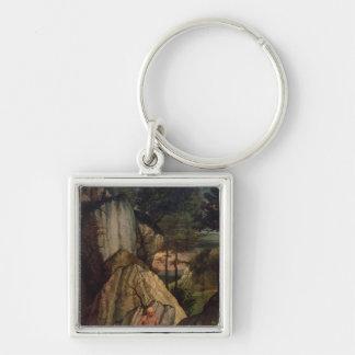 St Jerome Meditating en el desierto, 1506 Llavero Cuadrado Plateado