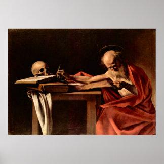 St Jerome mientras que escribe por Caravaggio Póster