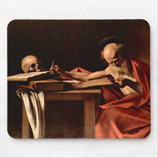 St Jerome mientras que escribe por Caravaggio Tapetes De Raton