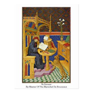 St Jerome por el amo del Marechal De Boucicaut Postal