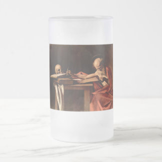 St. Jerome while writing by Caravaggio Frosted Glass Beer Mug