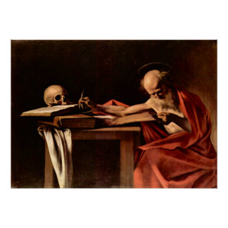 St. Jerome while writing by Caravaggio Poster