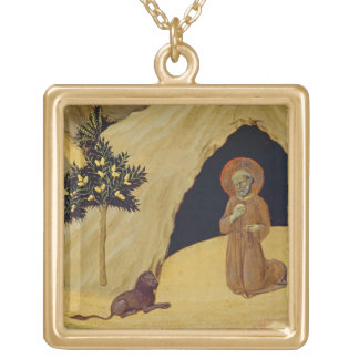 St. Jerome with the lion, 1436 (tempera on panel) Gold Plated Necklace