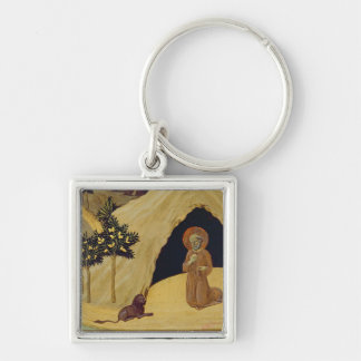 St. Jerome with the lion, 1436 (tempera on panel) Keychain