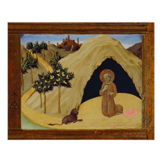 St. Jerome with the lion, 1436 (tempera on panel) Poster