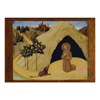 St. Jerome with the lion, 1436 (tempera on panel) Print