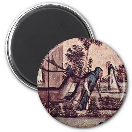 St. Jerome With The Lion In The Monastery Detail 2 Inch Round Magnet