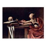 St. Jerome Writing By Michelangelo Merisi Da Carav Postcard