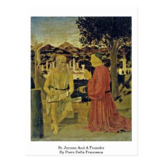 St Jerome y un fundador de Piero della Francesca Postal