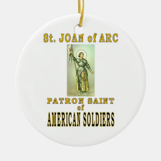 ST JOAN of ARC Double-Sided Ceramic Round Christmas Ornament