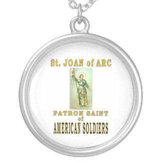 ST JOAN of ARC Round Pendant Necklace