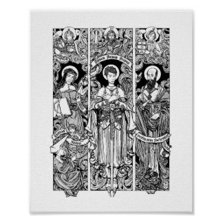 St. Joan with Sts. Louise and Francis de Sales Poster