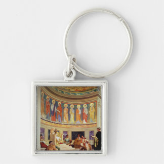 St John Chrysostom  exiled by Empress Eudoxia Silver-Colored Square Keychain