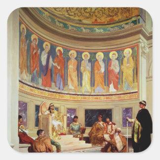 St John Chrysostom exiliado por la emperatriz Pegatinas Cuadradases