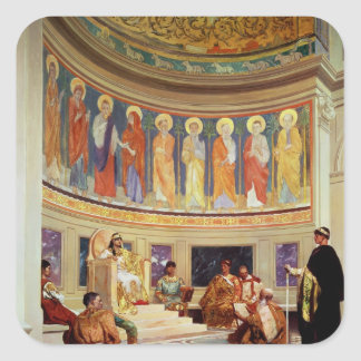 St John Chrysostom exiliado por la emperatriz Pegatina Cuadrada