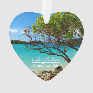 St. John Cinnamon Bay Beach Heart Ornament
