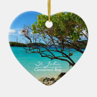 St. John Cinnamon Bay Ceramic Heart Ornament