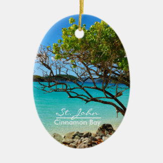 St. John Cinnamon Bay Oval Ceramic Ornament