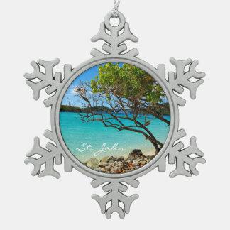 St. John Cinnamon Bay Pewter Snowflake Ornament