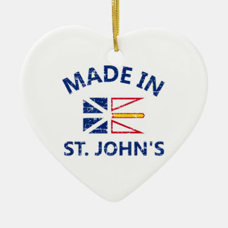 St. John Coat of arms Double-Sided Heart Ceramic Christmas Ornament