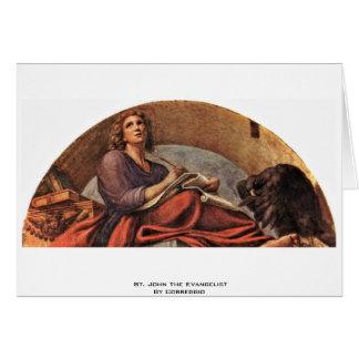 St John el evangelista por Correggio Tarjeton
