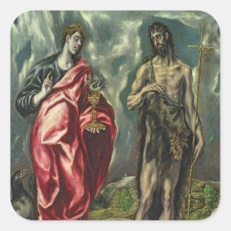 St John el evangelista y St. John el Bautista Pegatina Cuadrada