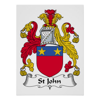 St John Family Crest Poster