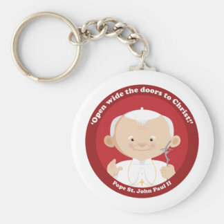St John Paul II Basic Round Button Keychain