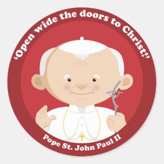 St John Paulo II Pegatina Redonda