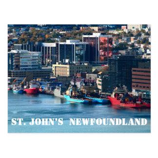 St. John's Newfoundland town and harbor Postcard