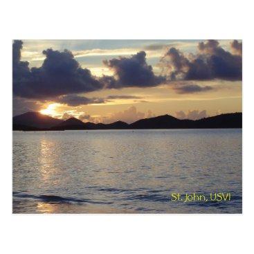 Beach Themed St. John Sunset Postcard